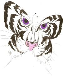 black white tiger butterfly with purple design