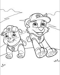 Nick Jr Color Pages Rubble And Rocky Running Happily In Paw Patrol Nick Jr Coloring Pages