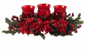 the holiday aisle poinsettia and berry triple candelabrum