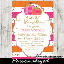 pumpkin baby shower pink orange pumpkin baby shower invitation personalized