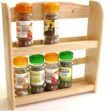 furniture simply wooden spice rack with unique bottle for kitchen