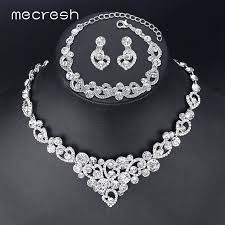 silver jewellery necklace sets images Mecresh heart crystal wedding bridal jewelry sets silver color jpg