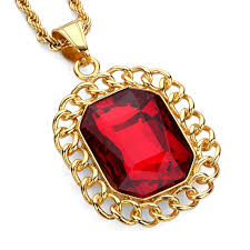 red big necklace images Stainless steel hiphop pendant necklace gold metal red big square jpg
