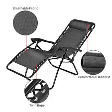 2 Position Camp Chair With Footrest Zero Gravity Chair Outdoor Lounge Folding Reclining Chair For