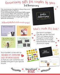 3rd year anniversary gift third wedding anniversary gifts three year booklet