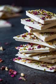 cardamom white chocolate bark with rose pistachio u0026 gold recipe