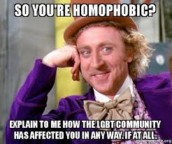 Homophobic Meme - so you re homophobic explain to me how the lgbt community has