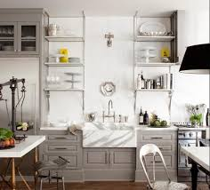 chalk painted grey cabinet and creative open shelving ideas for