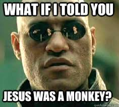 Monkey Jesus Meme - what if i told you jesus was a monkey matrix morpheus quickmeme