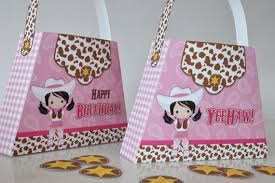 pink cowgirl birthday party purse favor box pink brown yellow