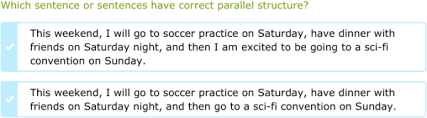 ixl identify sentences with parallel structure 9th grade