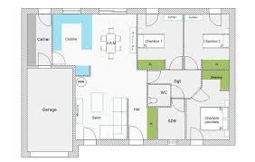 plan maison 3 chambres plain pied garage plan maison 3 chambres 1 bureau cheap exceptional plan de maison m