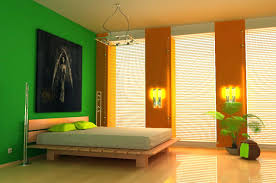 multi color paint ideas for bedroom with anpainting green accent