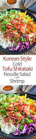 korean style cold tofu shirataki noodle salad with shrimp on
