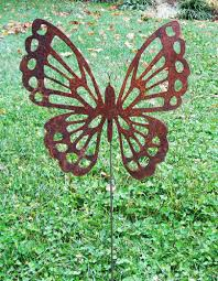 large butterfly garden stakes set 3 garden sculptures garden