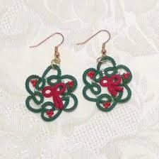 earring dangles made christmas wreath tatted earring dangles beaded