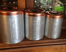 copper canister set kitchen aluminum canisters etsy