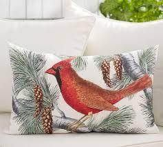 Christmas Pillows Pottery Barn Winter Fauna Cardinal Indoor Outdoor Pillow Pottery Barn