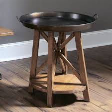 tray top end table hammary 204 918 new river round tray top end table with shelf new
