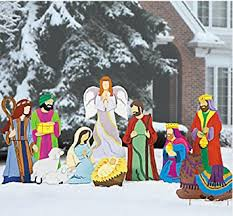 Christmas Decorations Nativity Outdoor by Amazon Com Super Deluxe Nativity Scene Large Outdoor Metal