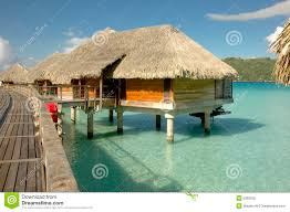 overwater bungalow at bora bora royalty free stock photo image