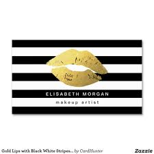 gold lips with black white stripes makeup artist business card