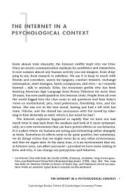 1 the internet in a psychological context university