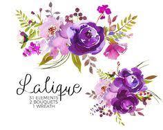 wedding flowers clipart purple watercolor flowers clipart set wedding floral bouquets