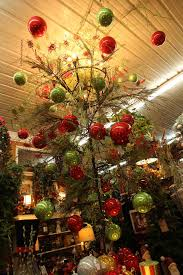 christmas ceiling display showcasing red and green ornaments