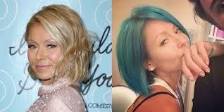 hair color kelly ripa uses kelly ripa dyes hair blue kelly ripa s new turquoise hair color