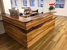 Custom Made Reception Desk Wood Plank Reception Desk Home Furniture Decoration