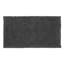 Black And White Bathroom Rug by Resort Collection Plush Shag Chenille Gray 21 In X 34 In Bath