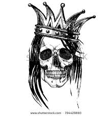king death portrait skull crown vector stock vector 684484354
