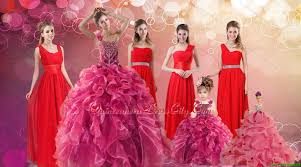 ruffles one shoulder sweet 16 dress and red long beading prom