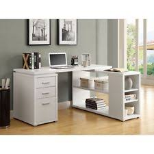 L Shaped Desk With Side Storage Fineboard L Shaped Office Corner Desk 2 Side Shelves White Fast Ebay