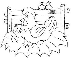 coloring pages family chicken in farm animal coloring pages