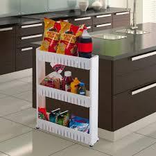 kitchen storage cupboard on wheels everyday home 3 tier white slim slide out pantry storage