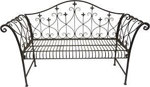 vintage look metal outdoor garden bench with ornamented high