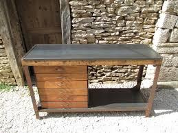 console pour cuisine etabli industriel acier 6 tiroirs merisier 1950 mettetal industry