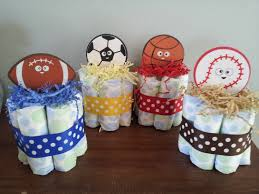 1 sports theme mini diaper cake baby shower centerpiece