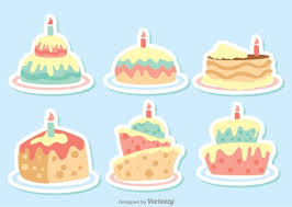 set of 6 cute birthday cakes vector free download