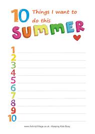 summer planning sheets