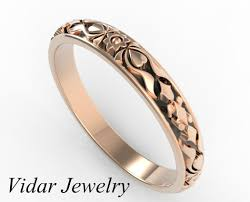 engraved rings gold images Rose gold vintage flower engraved wedding band vidar jewelry jpg