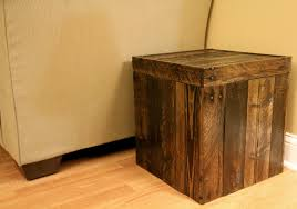 Wood Ottoman Reclaimed Pallet Wood Furniture Storage Cubed Ottoman