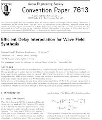 aes e library efficient delay interpolation for wave field synthesis