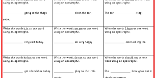four differentiated activities writing contractions ks1 spag test