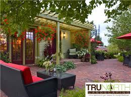 landscaping patio terrace brick paver pergola trellis lattice