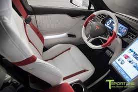 custom white and red alcantara model s 1 0 interior gloss piano