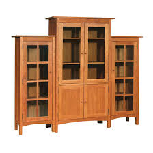 Wooden Bookcase With Doors Three Piece Wall Unit Solid Wood Bookcases 6 Large Glass Doors