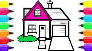 how to draw house for kids coloring pages and learn colors with
